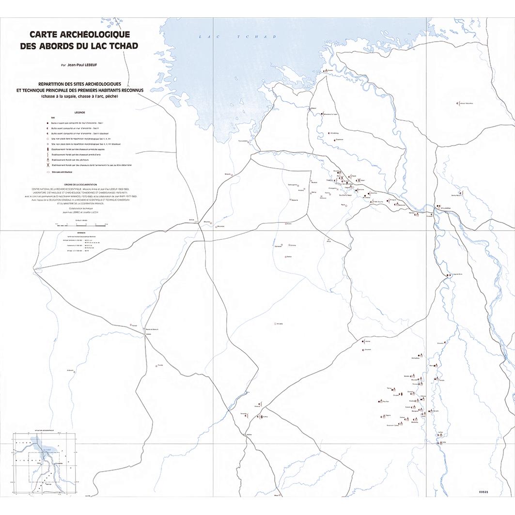 Répartition des sites archéologiques et technique principale des premiers habitants reconnus (chasse à la sagaie, chasse à l'arc, pêche)